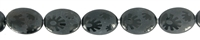 String Oval, Onyx (dyed), partially frosted with engraved sun, 18 x 13mm