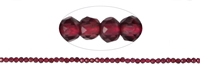 String Beads, Garnet, facetted, 02mm