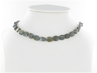 String flat Oval, Labradorite, faceted, 10 x 08mm