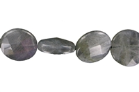 String Button flat, Labradorite, facetted, 18mm
