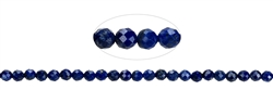 Strang Kugel/Button, Lapis Lazuli A, facettiert, 03 x 03mm