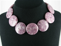 String coin shape, Lepidolite, 35 mm