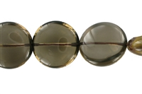 String Button flat, Smoky Quartz, 20mm
