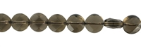 String Button flat, Smoky Quartz, 10mm