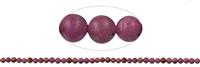 String Beads, Ruby, frosted, appr. 04mm