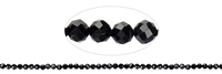 String Beads, Tourmaline black (stab.), facetted, 04mm