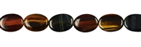 String Flat Oval, Tiger's Eye gold/red/blue, 18 x 13 mm