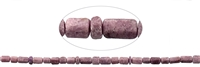 String Cylinder Hexagon, Tourmaline (pink), frosted, appr. 03-15 x 09mm