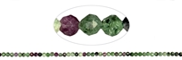 String Beads, Zoisite with Ruby, faceted, appr. 03mm