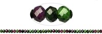 String Button, Zoisite with Ruby, faceted, 02 x 04mm
