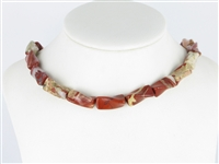 String Cylinder (twisted), Jasper (red), 20 x 10mm