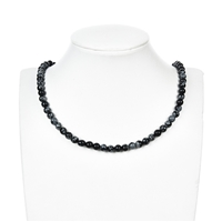 String Beads, Obsidian (Snowflake), 06mm