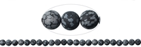 String Beads, Obsidian (Snowflake), frosted, 08mm