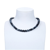 String Beads, Obsidian (Snowflake), 08mm