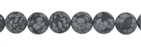 String Beads, Obsidian (Snowflake), frosted, 12mm