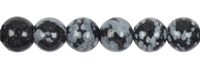 String Beads, Obsidian (Snowflake), 12mm