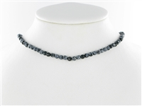 String Beads, Obsidian (Snowflake), facetted, 04mm