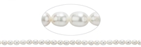 String Ricecorn, Freshwater Pearl, white cream, 06mm