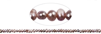 String Button, Freshwater Pearl A, purple light (dyed), 03-04mm