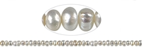 String Button, Freshwater Pearl A+, white, 05 - 06mm