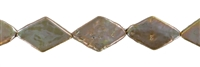 String Rhomb flat, Freshwater Pearl A, brown (dyed), 14-15mm