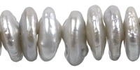 String Slice, Freshwater Pearl AB, silver (natural), 02-03 x 14-14mm