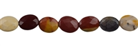String Oval flat, Mookaite, faceted, appr. 10 x 8 x 3mm