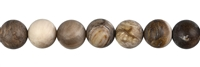 String Beads, Petrified Wood, frosted, 10mm