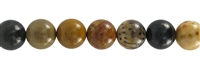 String Beads, Petrified Palmwood, 10mm