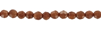 String beads, Sandstone brown (synt. glass), faceted, 04mm