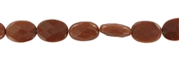 String flat Oval, Sandstone brown (synt. glass), faceted, 14 x 10mm
