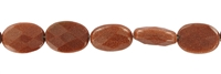 String flat Oval, Sandstone brown (synt. glass), faceted, 18 x 13mm