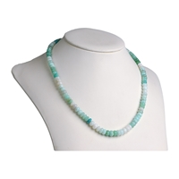 String Button, Andean Opal green (mulitcolour), faceted, 05 - 08mm, Single Piece Nr. 18