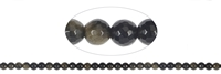 String Beads, Obsidian (Gold Sheen), faceted, 06mm