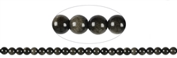 String Beads, Obsidian (Silver Sheen), 08mm