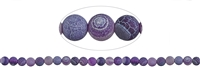 String Beads, Agate (Snake) violet (dyed), frosted, 08mm