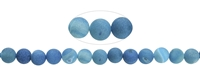 String Beads, Agate (Snake) blue (dyed), frosted, 10mm