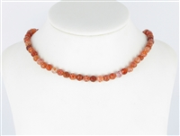 String Beads, Agate (Snake) red (dyed)facetted, 06mm