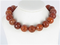 String Beads, Agate (Snake) red (dyed), facetted, 20mm