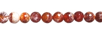 String Beads, Agate (Snake) red (dyed), facetted, 12mm