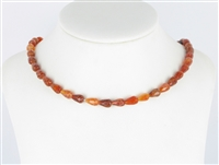 String Drops, Agate (Snake) red (dyed), facetted, 09 x 06mm