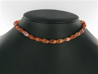 String Rectangle twisted, Agate (Snake) red (dyed), 12 x 06mm