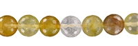 String Beads, Iron Flint (yellow), faceted, 12mm