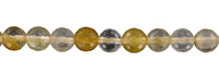 String Beads, Iron Flint (yellow), facetted, 06mm