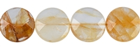 String Coin, Inclusion Quartz (yellow), faceted, 20mm