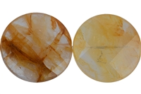 String Coin, Inclusion Quartz (yellow), faceted, 30mm