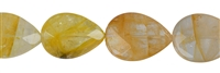 String drops flat, Iron Flint (yellow), faceted, 25 x 18mm