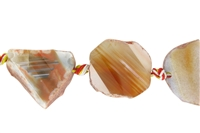 String Freeform Slaps, Agate red/pink, app. 30-35 x 25-30 x 10-12mm