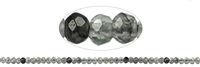 String Button, Inkluse Quartz, faceted, appr. 02 x 03mm