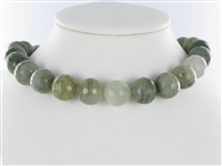 String Beads, Quartz with Chlorite, facetted, 16mm